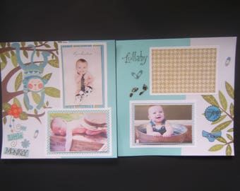 Baby Boy Layouts - Baby Boy Scrapbook Pages - Baby Boy Scrapbook Layouts - 12 by 12 Baby Boy Layouts - Premade Baby Boy Pages - Baby Boy