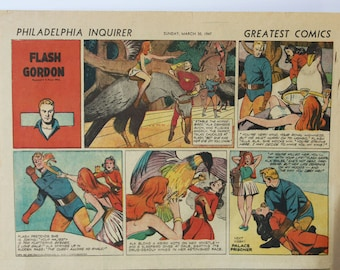 1947 Comics, Philadelphia Enquirer/Daily News, 24 Pages, Great Condition, Tarzan, Flash Gordon+, Complete Comics, March 29, 30, 1947