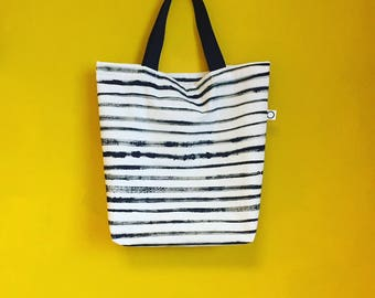 MAJSTUDIO TOTE BAG. Handmade & handpainted cotton tote bag stripes