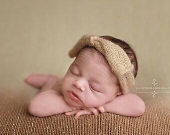 Beige Wide Bow Mohair Headband Newborn Photography