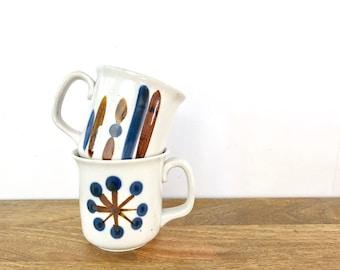 Vintage Mugs | Set of 2 Pottery Mugs | Brown & Blue Modern Design | Vintage Serveware, Drinkware, Kitchenware