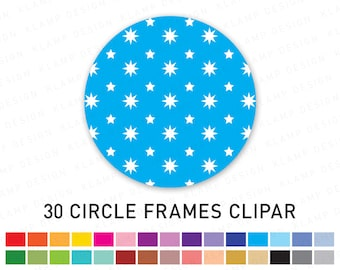 "Circle Frame Clipart: ""CIRCLE CLIPART"" with Stars Pattern, Digital Frame Clipart, Digital Circle Frames, Digital Labels, Frame Clipart"