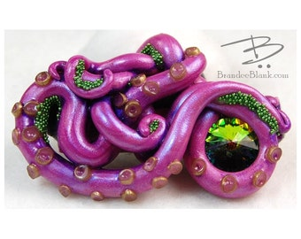 Tentacle Hair Clip in Magenta and Green #1 - free US Shipping!