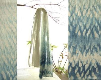 Shibori scarf, natural indigo shawl, organic cotton wrap, honeycomb scarf, rustic chic scarf, wave scarf, girlfriend sister gift for her