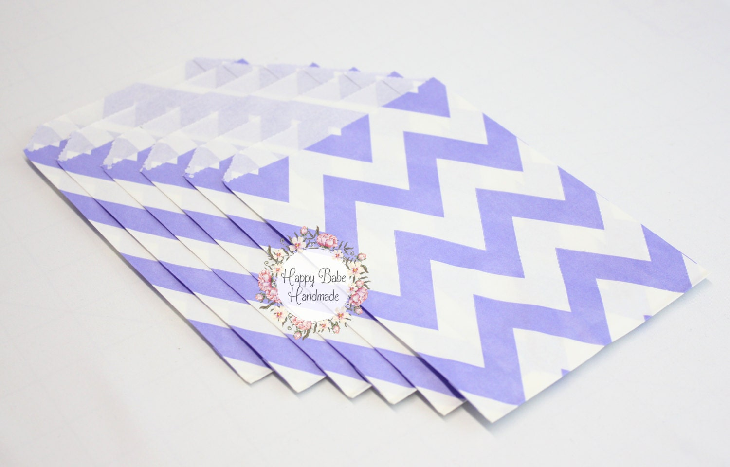 Lavender Chevron Bags, 4--3/4 by 7 Inches, 12 Bags, Chevron Paper ...