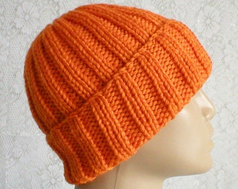 Bright orange watch cap, brimmed beanie hat, orange toque, beanie hat, orange hat, mens womens knit hat, orange beanie hat, ski hiking - V2
