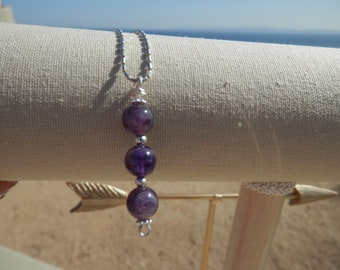 Pendant - Genuine Amethyst Stones 8mm and 925 Sterling Silver Chain