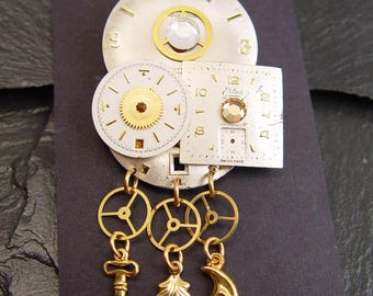 Steampunk Broach Pin made from Watch Parts