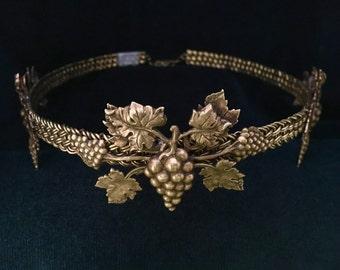 Gold Bacchus Grape Leaf Design on Braided Brass Band Circlet Headpiece Crown