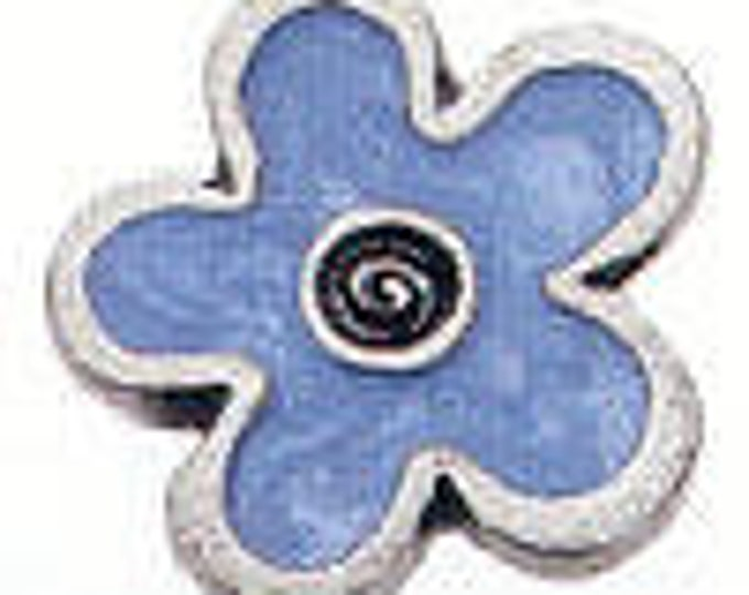 BLUE FLOWER enamel pewter Danforth shank button
