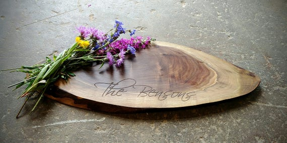 Personalized Cheese Board - Walnut Tree Slice - Live Edge Cutting Board - Rustic Wedding, Charcuterie, Tapas Board