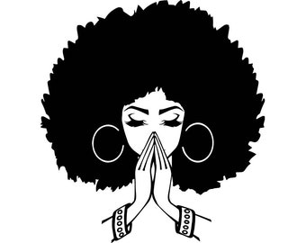 Black Women Praying Nubian Princess Queen Afro Hair Beautiful African Female Lady SVG .EPS .PNG Vector Clipart Digital Circuit Cut Cutting