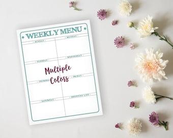 Printable Menu Planner - Rustic Teal Daily Menu Planner Sheet - Meal Prep Grocery List Planner - Instant Download