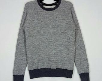 Rare!! BEAMS sweatshirt nice design pull over jumper crew neck made in Japan grey colour medium size