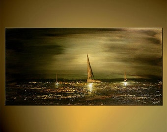 """Olive Green Seascape Painting Original Abstract Acrylic Art Sailboats  by Osnat - MADE-TO-ORDER - 36""""x18"""""""