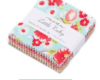 In Stock-Available Now-MODA Fabric Precuts - Mini Charm Pack - Little Ruby - Bonnie & Camille - patchwork,quilting,craft