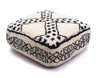 Moroccan Pouf, Floor Cushion, Beni Ourain Pouf Ottoman, Floor Pillow, Foot Stool, Refashioned from a New Berber Rug. PVA022