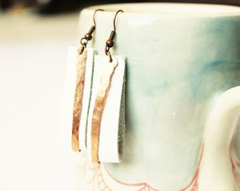 White leather and copper earrings, leather bar earrings copper bar earrings, copper earrings