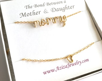 Matching Mother Daughter Necklaces. Gold Mommy Necklace and Daughter Heart Necklace Set. Sale Mother's Day Necklace Gift Set.