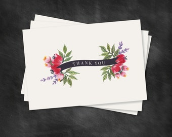 FLORAL Thank You CARD SET of 10