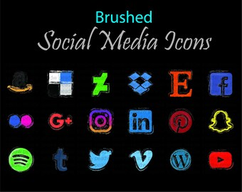 Brushed Social Media Logo Icons / facebook / twitter/ instagram/ youtube / art / lines / paintbrush / outline / colour