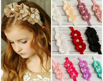 Flower girl headband, Baby headband, Baby headbands, Flower Headband, Newborn Headband, White baby headband, Pink Headband, Ivory Headband.