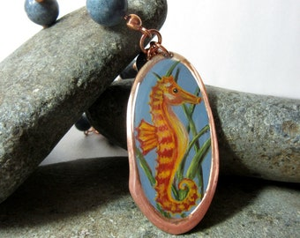 Seahorse Pendant, Hand Painted Seahorse Necklace, Seahorse Necklace, Sea Horse Necklace, Ocean Jewelry, Blue Sponge Coral  and Copper Chain,