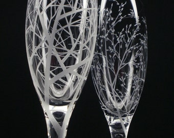 Two Hand Engraved Glass Champagne Flutes  'Reaching Branches'  and  'Branches and Leaves'