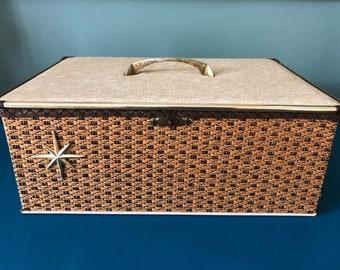 Vintage Mid Century Atomic Starburst Sewing Basket Box with Accessories