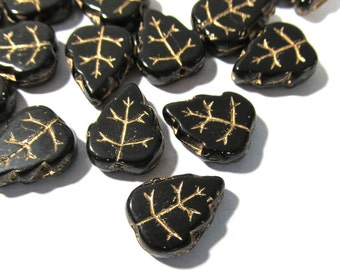 Czech Black Glass Leaf Beads Thirty (30) Czech Glass Leaves 13mm Gold Luster Black Glass Vintage Glass Bead Wedding Jewelry Supplies (Y83)