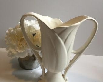 Gorgeous McCoy Art Deco Two Handled Tulip Vase White Unmarked