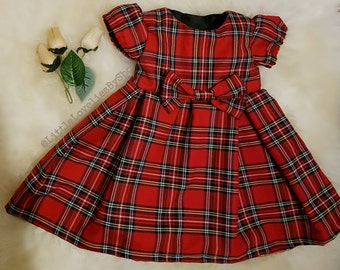 Baby Girls Red Royal Stewart Tartan Christmas Dress Sizes from 0-3months to 6 Years