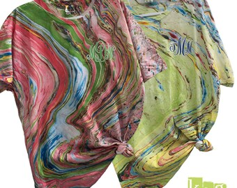 Marble Tie - Dye Monogram T-shirt (Closeout Sale) FREE SHIPPING