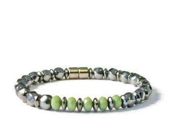 Magnetic Health Bracelet, Black Hematite and Olive Green Crystal, Arthritis Jewelry
