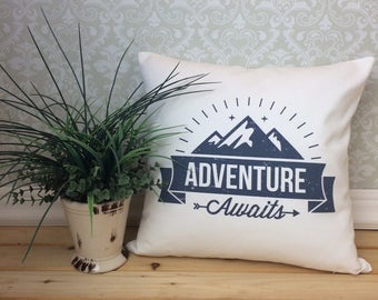 Adventure Awaits Pillow Cover, Gift for outdoor enthusiast, PNW Home Decor, Custom Color Pillow, Mountain Pillow