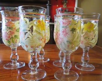Gorgeous Vintage Hand Painted Flowered Stemware Set Of Six