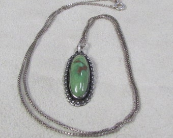 Sterling Silver and Green Turquoise Necklace