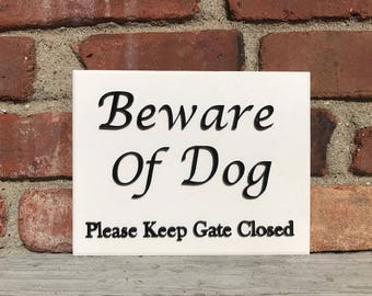 Beware of Dog Azek Board Wall Plaque Laser Engraved Personalized Custom Sign 855 by SignsByAllSeasons