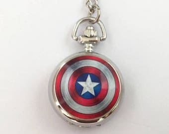 Captain America inspired small pocketwarch necklace