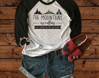 Disney The Mountains Are Calling - Space Mountain - Big Thunder Mountain - Splash Mountain - Next Level Raglan Tee - Unisex- Disney Vacation