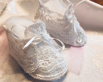 Baby Girl Shoes, Infant girl clothes, Baby, Embroidery Baby Shoes, Lace Baby Booties, Crib Shoes, Christening Shoes