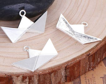 Origami boat charm 31x18mm silver