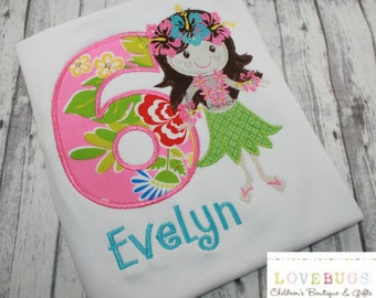 Custom Girls Hawaiian Hula Girl Birthday Shirt~ Monogrammed, Applique, Embroidered ~ Many Sizes Available