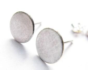 Silver Stud Earrings, Silver disc Earrings, Silver Post Earrings, Dot , Full moon