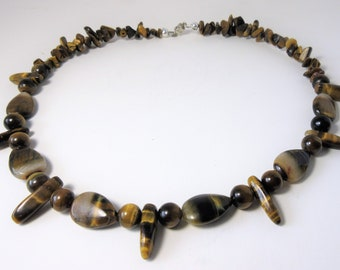 Tigers eye Tribal necklace with magnetic clasp