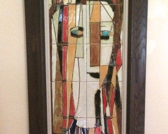 Harris Strong 12 Tile Wall Hanging Women Abstract Mid Century Modern 1960's