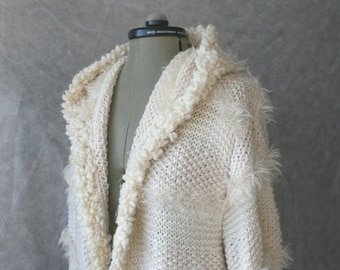 Hand knitted white women coat with hood. Made to order