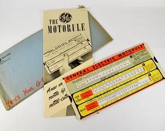 Vintage General Electric Motorule, Vintage Machining, Vintage Industrial Ephemera, GE Engineering Slide Rule, 1940s Metalworking