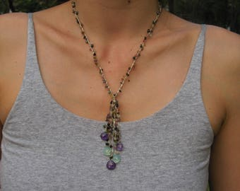Amethyst necklace and gemstones with 5 pendants