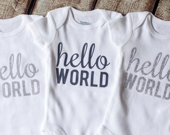 Hello World, Going Home Outfit, Newborn Onesie, Newborn Outfit, SILVER GLITTER, Baby Shower Gift, Coming Home Outfit,